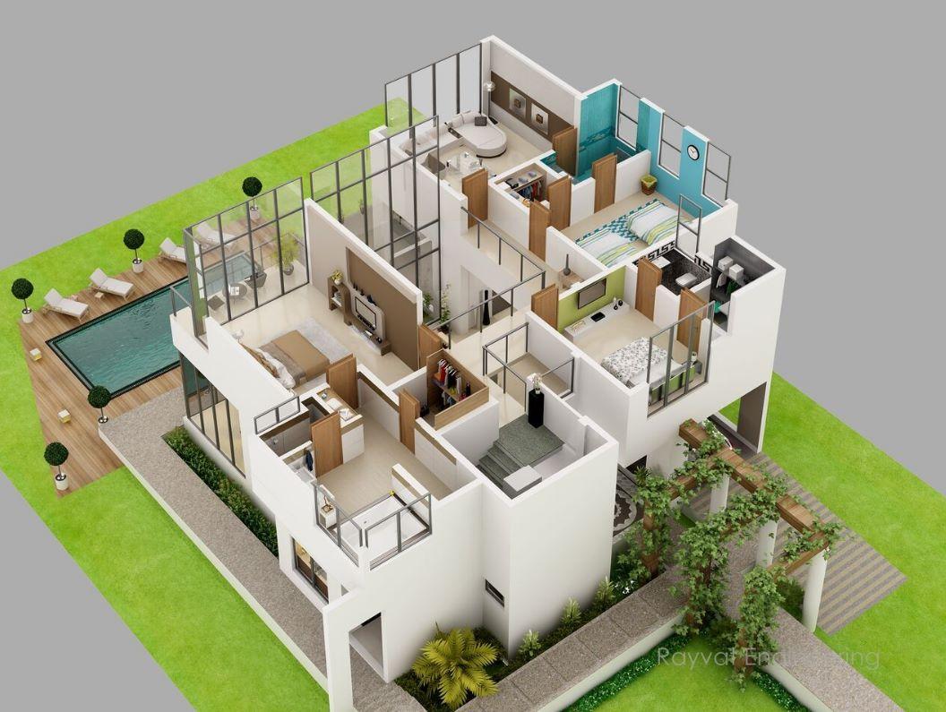 Plano de departamento de 2 pisos