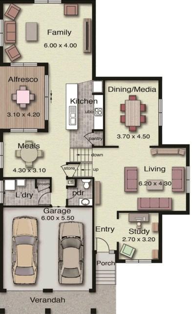 planos de casas grandes de dos pisos