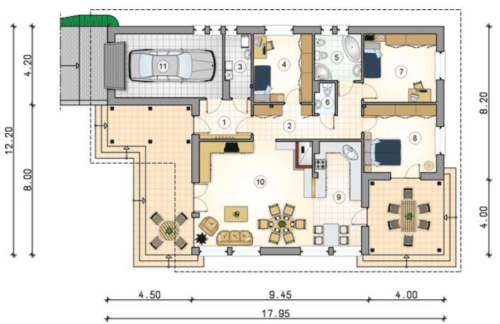 Planos de casas a cuatro aguas for Cuarto 4x4 metros