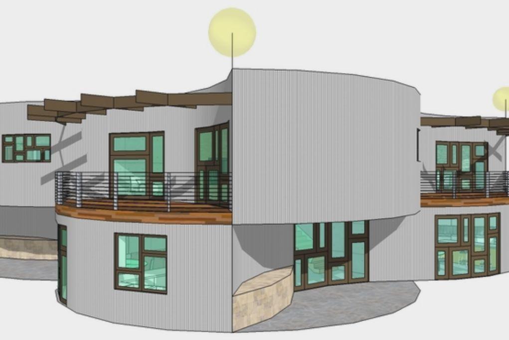 Facahda de casa circular de 2 dormitorios