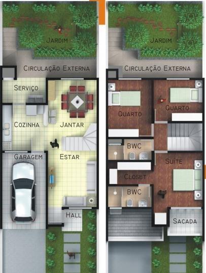 Modelos de casas de 2 pisos pequeñas con balcon