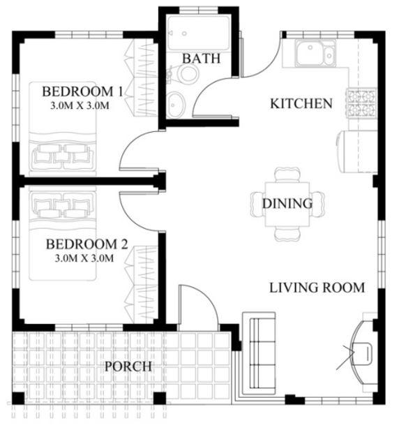 Plano de casa de 50 m2 planos de casas modernas for Casa moderna 50 metros cuadrados