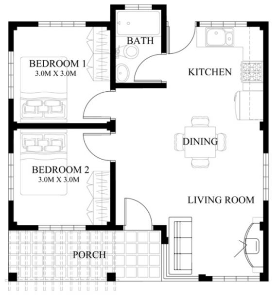 Plano de casa de 50 m2 planos de casas modernas - Piso de 60 metros cuadrados ...