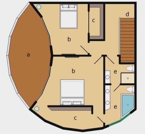 Plano de casa circular de 2 dormitorios