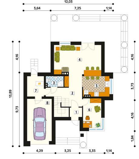 Plano de casa de 12x14 m