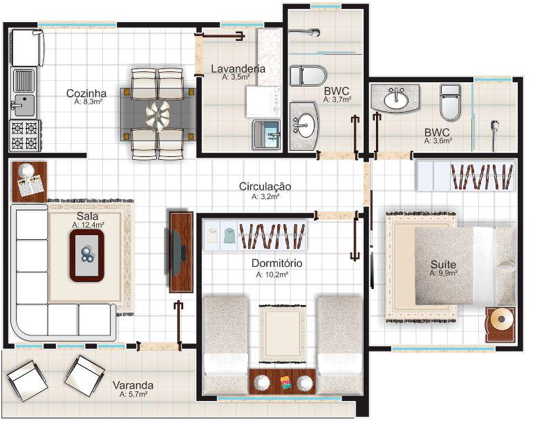 planos de casas 10x15