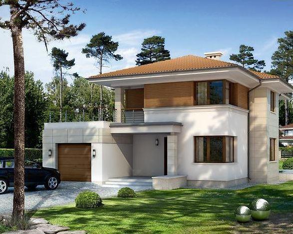 Plano de casa moderna de 12x14 m