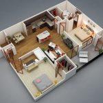 Plano en 3D de 2 dormitorios y 3 baños