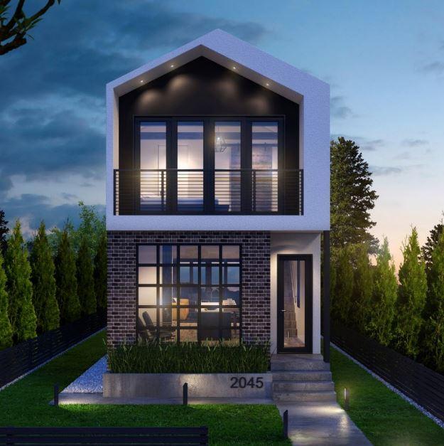 Plano de casa angosta y alargada planos de casas modernas for Planos para casas de dos pisos modernas