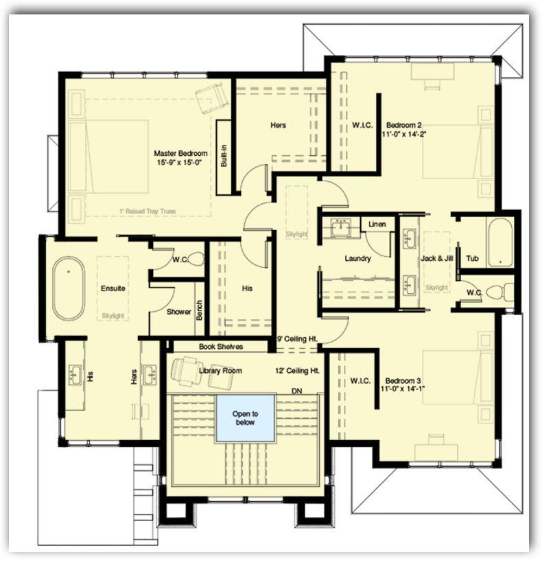 4 dormitorios planos de casas modernas for Planos de cocinas grandes