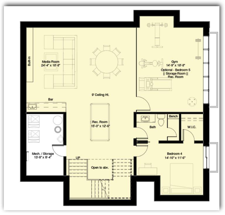 4 dormitorios planos de casas modernas for Plano de pieza cocina y bano