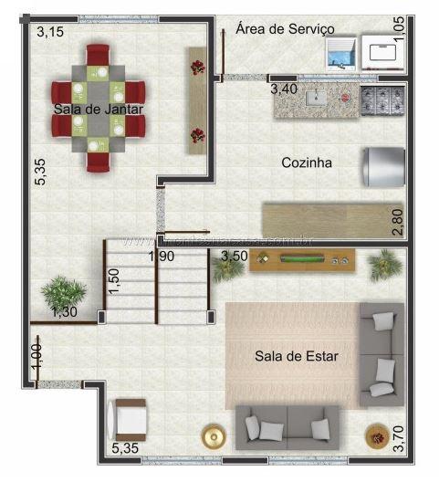 Casa de dos pisos peque a con medidas en metros for Planos de oficinas pequenas