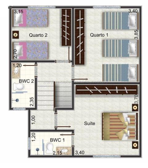 Plano de casa con 3 dormitorios planos de casas modernas for Casas modernas de dos plantas pequenas