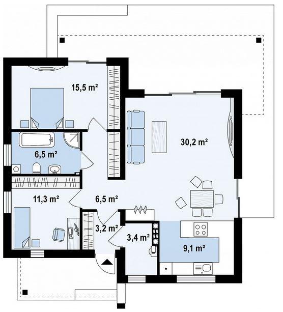Planos de casas modernas de 92 metros cuadrados for Diseno de apartamentos de 90 metros cuadrados