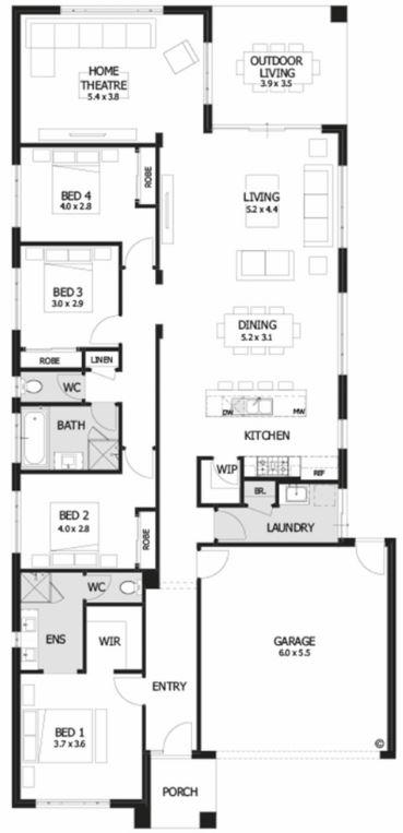 Planos de casas de una planta 4 dormitorios 2 ba os for Casa de 2 plantas y 3 habitaciones