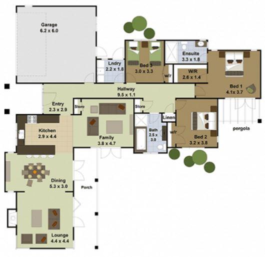 Plano de casa moderna en l for Casa moderna l