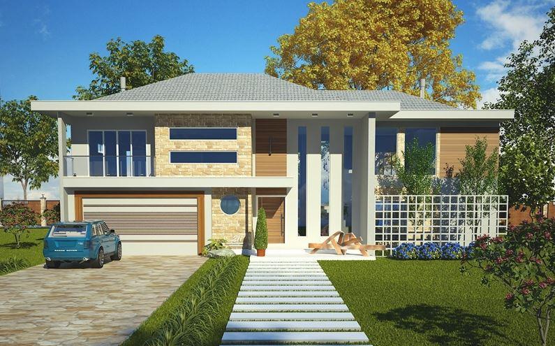 Planos de casas modernas de dos plantas con fachada for Modelos de fachadas de casas de dos pisos