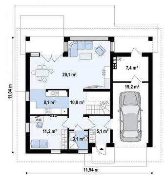 Plano de casa con cochera planos de casas modernas for Planos de casas 200m2