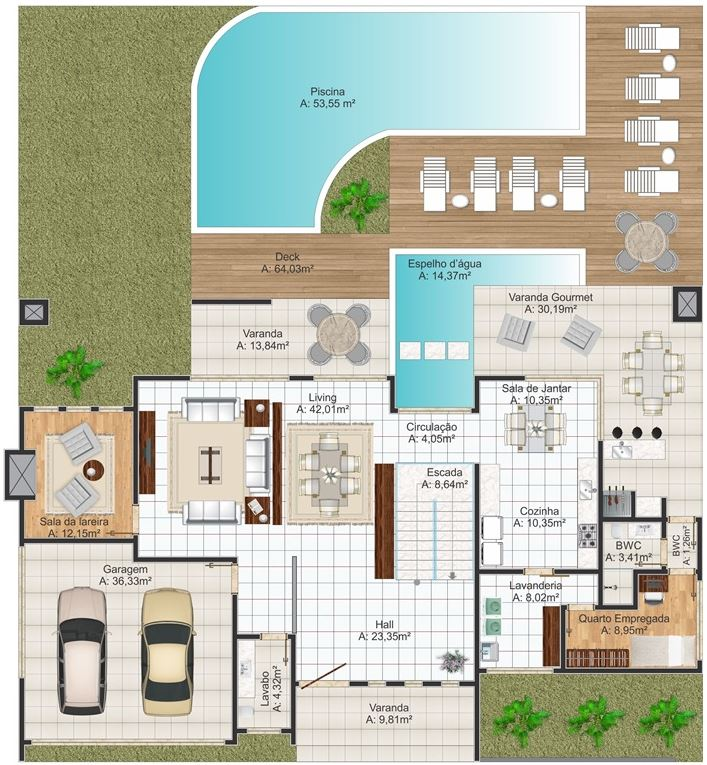 Plano de casa lujosa moderna planos de casas modernas for Viviendas modernas de una planta