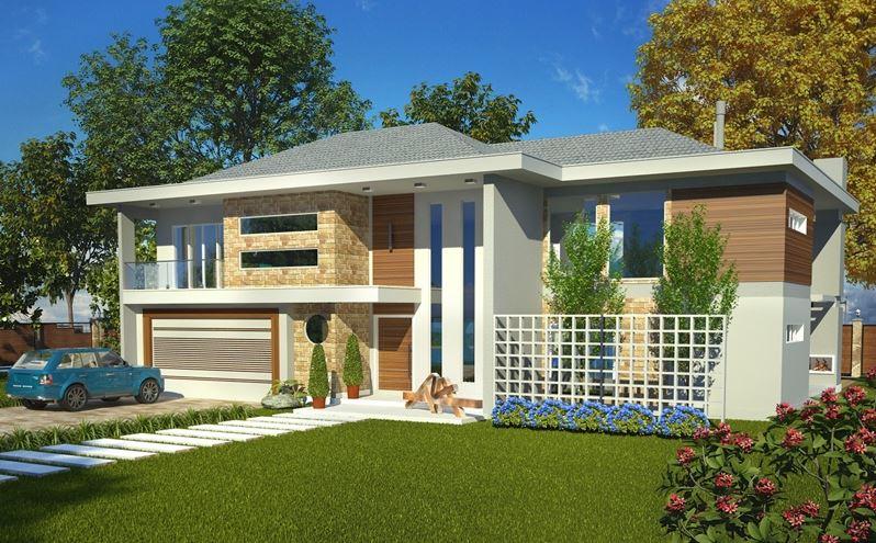 Planos de casas modernas de dos plantas con fachada for Viviendas modernas de una planta