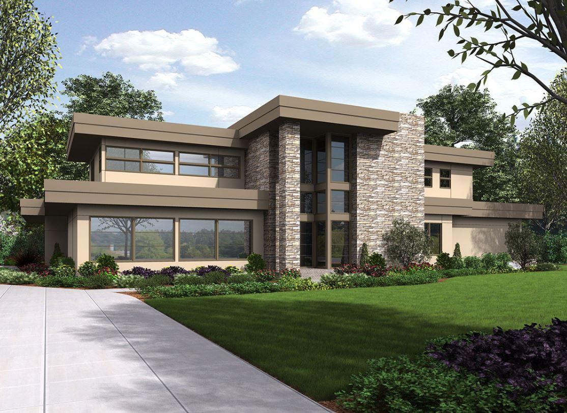 2 pisos planos de casas modernas for Casas modernas de 80 metros