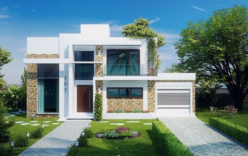 Plano de casa moderna de 125 metros cuadrados for Fachada de casas modernas con balcon