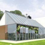 Plano de casa moderna con salon acristalado