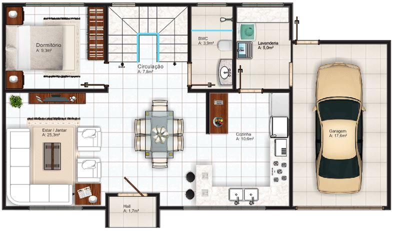 Plano de casa de 120 m2 planos de casas modernas for Casa moderna 50 metros cuadrados