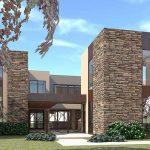 Casa parcialmente revestida en piedra de 3 pisos
