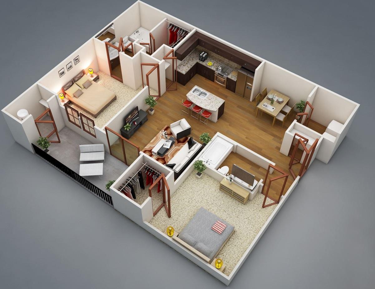 Plano en 3d planos de casas modernas for Plano departamento 2 dormitorios