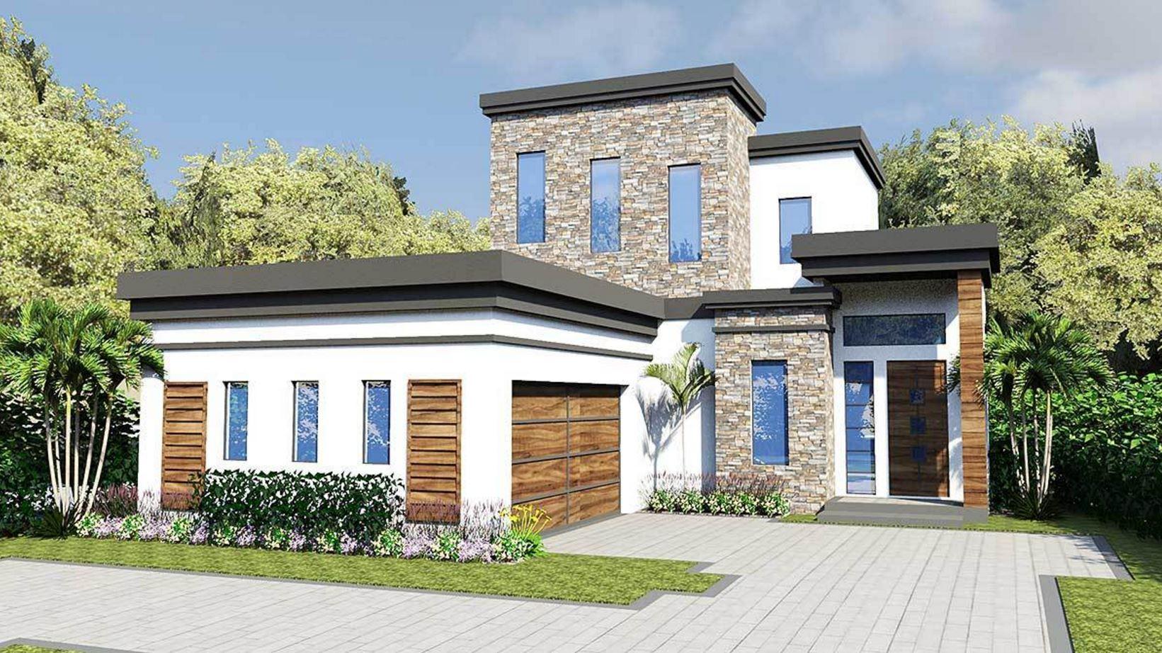Plano de casa moderna de dos pisos planos de casas modernas for Casas modernas 3 recamaras