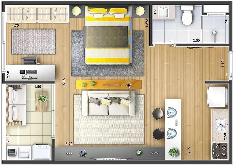 1 dormitorio planos de casas modernas for Planos de casas de una habitacion