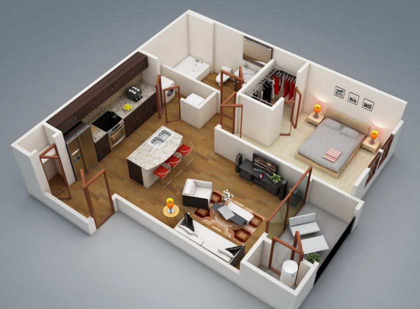1 dormitorio planos de casas modernas for Modelos de construccion de casas modernas