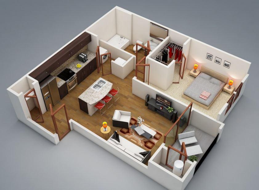 1 dormitorio planos de casas modernas - Distribuciones de casas modernas ...