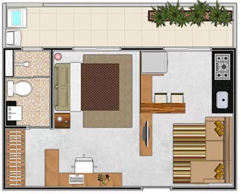 1 dormitorio planos de casas modernas for Diseno de apartamento de una habitacion