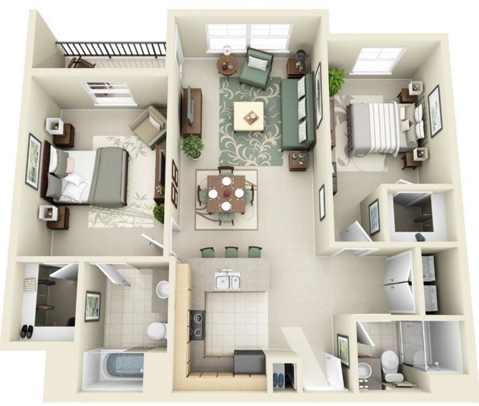 Plano en 3d planos de casas modernas for Planos de apartamentos modernos