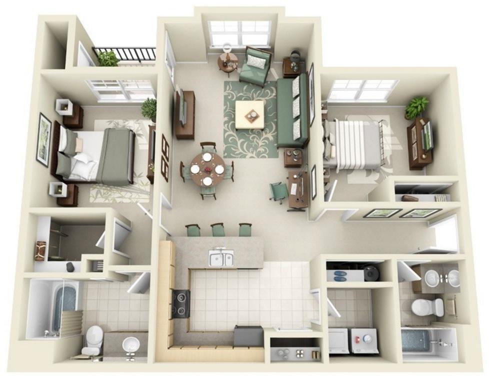 Plano en 3d planos de casas modernas for Planos de casas medianas