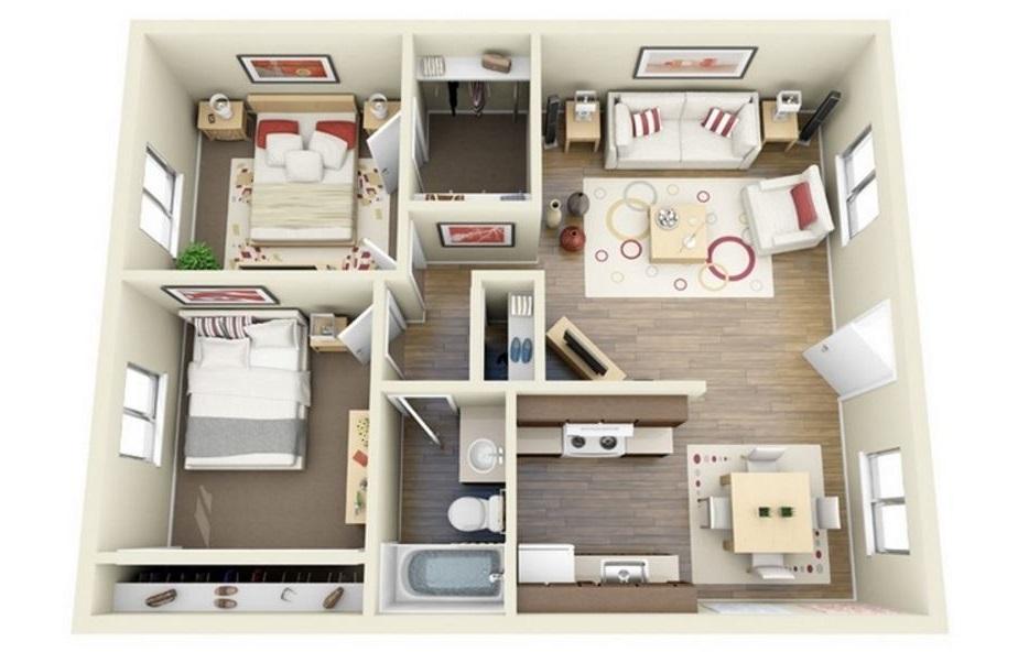 Plano en 3d planos de casas modernas for Distribucion piso 90 metros
