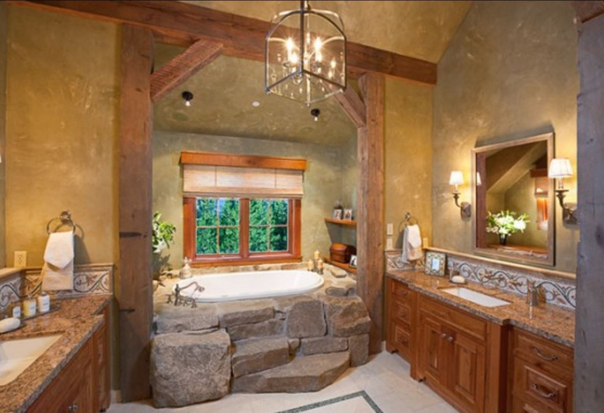 Rustic bathroom for Planos casas pequenas