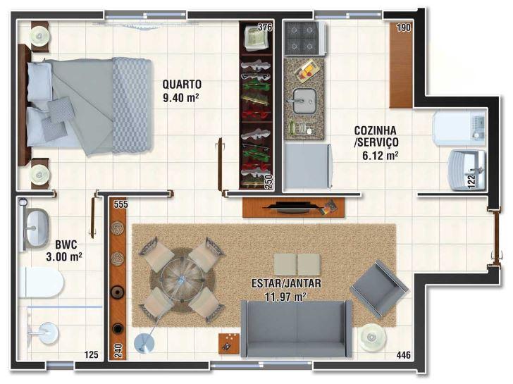 Planos de minidepartamentos de 30m2 for Decoracion para minidepartamentos