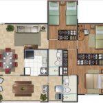Plano de casa de 3 dormitorios y 100 metros cuadrados