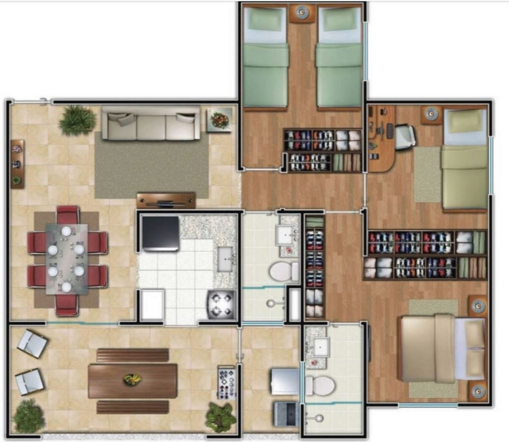 3 dormitorios planos de casas modernas for Planos de casas 200m2