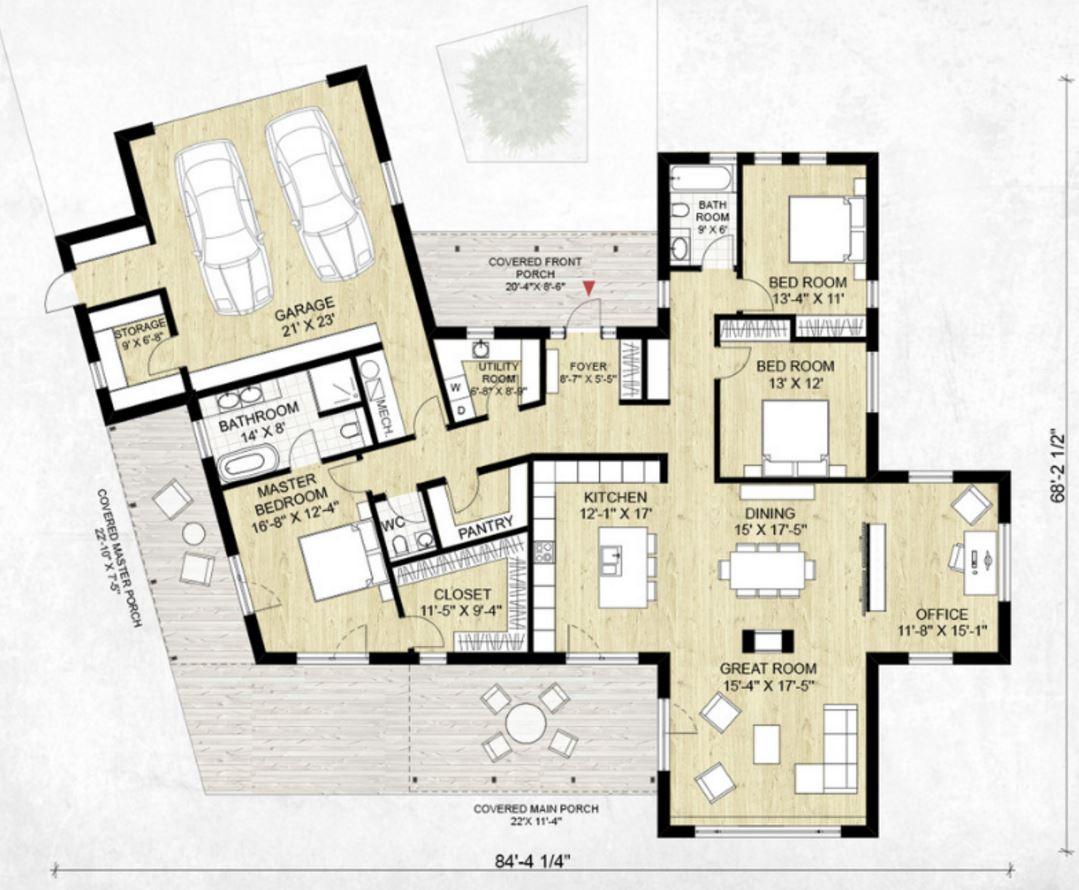 Plano de casa para terreno amplio planos de casas modernas for Planos de cocinas grandes