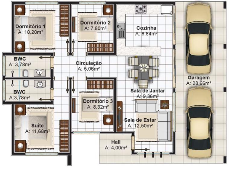 4 dormitorios planos de casas modernas Planos interiores de casas modernas