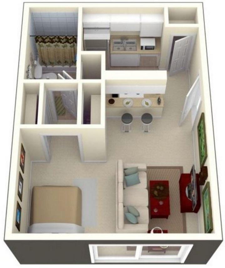 Plano de casa de 1 habitacion planos de casas modernas for Planos de casas pequenas en 3d