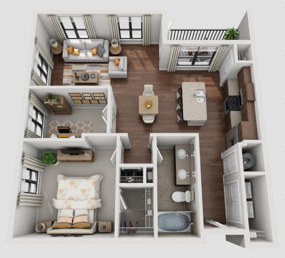 1 dormitorio planos de casas modernas Planos interiores de casas modernas