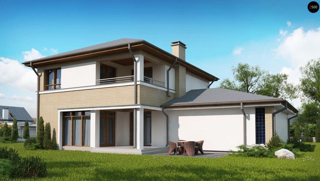 este modelo de vivienda de dos plantas y metros cuadrados presenta una fachada moderna pero sencilla la planta baja es un tanto ms amplia que la
