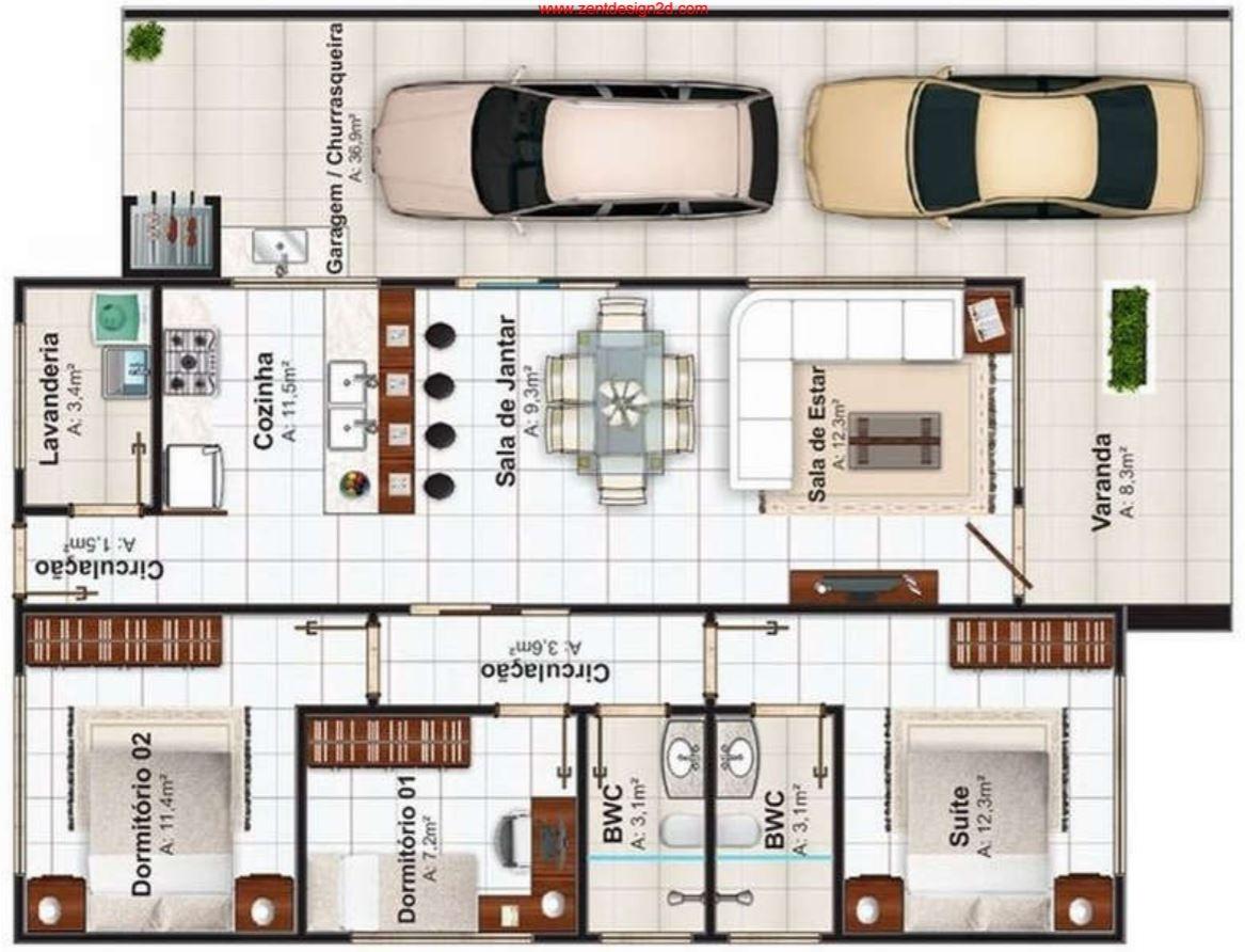 Plano de casa moderna de 3 habitaciones y 2 ba os en una for Disenos de casas de una planta