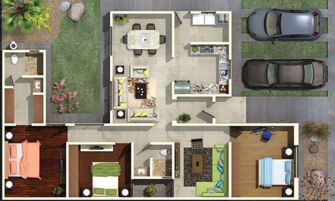 Plano de casa de tres dormitorios y 2 ba os planos de for Casa de 2 plantas y 3 habitaciones