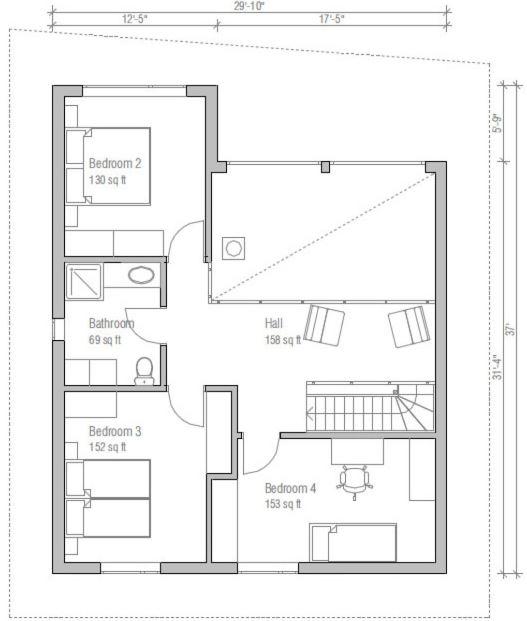 Planos de casas de 150m2 de dos plantas for Plano de pieza cocina y bano